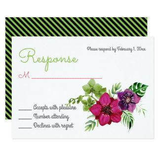 Cartão floral verde roxo do rosa quente RSVP Convite 8.89 X 12.7cm