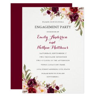 Cartão floral vermelho da festa de noivado da