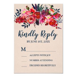Cartão floral vermelho da resposta de Boho RSVP
