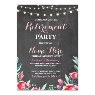 Cartão Floral vermelho do giz do partido de aposentadoria