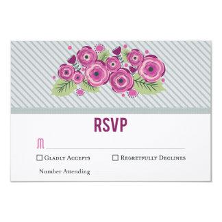 Cartão floral violeta de RSVP Convite 8.89 X 12.7cm