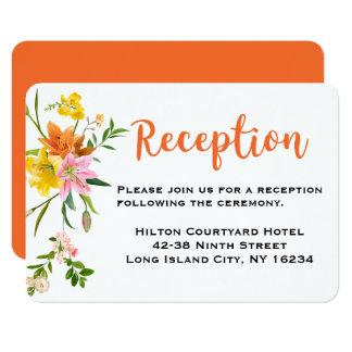Cartão Flores alaranjadas florais do rosa do lírio da