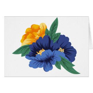 Cartão Flores amarelas azuis da aguarela floral - olá!