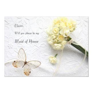 Cartão Flores amarelos pálido com madrinha de casamento