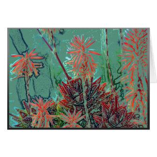 Cartão Flores artísticas em um fundo verde