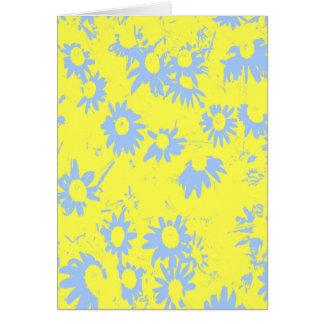Cartão Flores azuis do cone com fundo amarelo