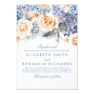 Cartão Flores azuis do Hydrangea e do pêssego - casamento