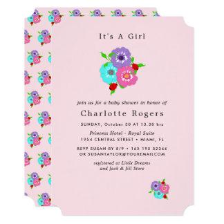 Cartão Flores bonito & chá cor-de-rosa do bebé dos