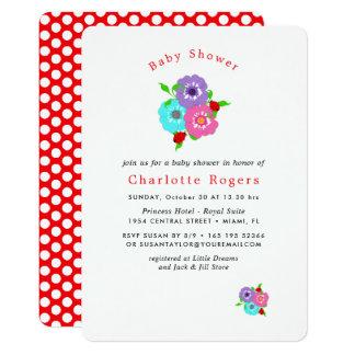 Cartão Flores bonito & chá de fraldas irrisório bonito