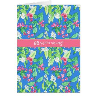 Cartão Flores bonito do primavera aniversário do azul no