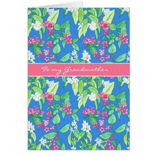 Cartão Flores bonito do primavera no azul para a avó