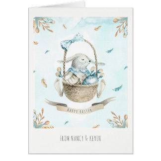 Cartão Flores bonitos do coelhinho da Páscoa & felz