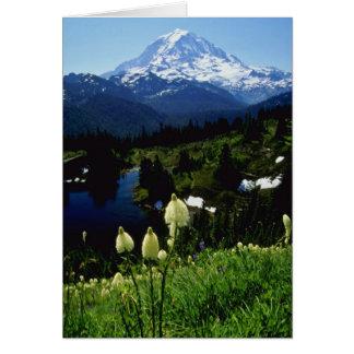 Cartão flores brancas do Monte Rainier