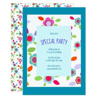 Cartão Flores coloridas do vintage com azul