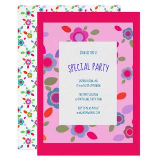 Cartão Flores coloridas do vintage no rosa