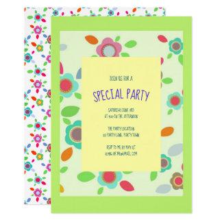 Cartão Flores coloridas do vintage no verde
