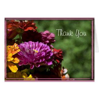 Cartão Flores coloridas do Zinnia que Wedding o obrigado