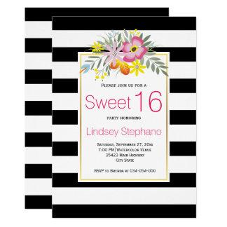 Cartão Flores cor-de-rosa, aniversário do doce dezesseis