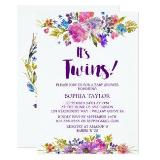 Cartão Flores cor-de-rosa da ameixa & azuis roxas é