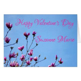 Cartão Flores cor-de-rosa dos namorados