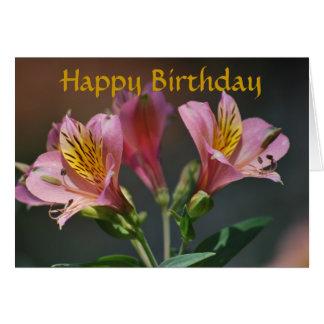 Cartão Flores cor-de-rosa e significado do lírio do Inca