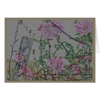 Cartão Flores cor-de-rosa em uma cerca