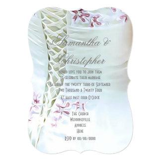 Cartão Flores cor-de-rosa no casamento do vestido das