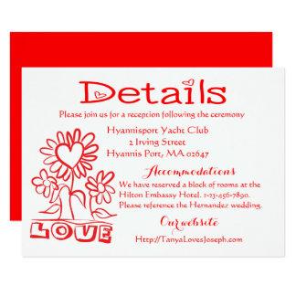 Cartão Flores & corações vermelhos do amor dos detalhes