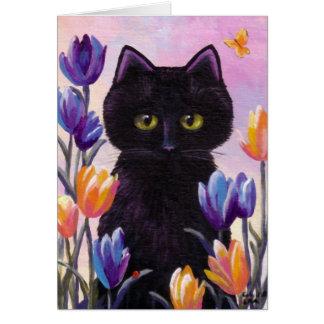 Cartão Flores Creationarts cor-de-rosa das tulipas da