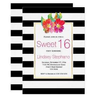 Cartão Flores da aguarela, aniversário do doce dezesseis