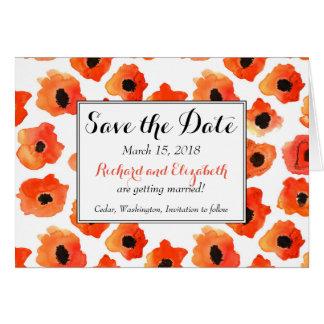 Cartão Flores da papoila do primavera que wedding