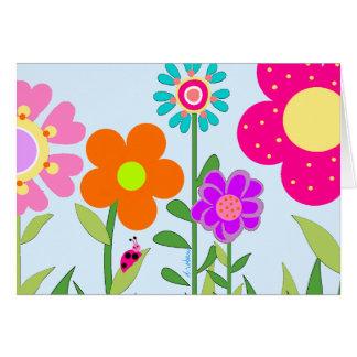 Cartão Flores da primavera & senhora Desinsetar