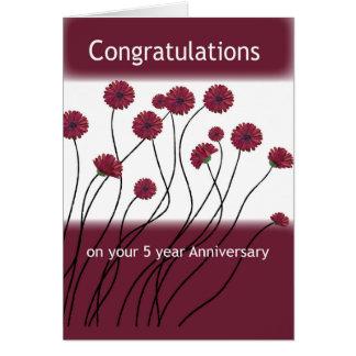 Cartão Flores da recuperação da etapa de um aniversário