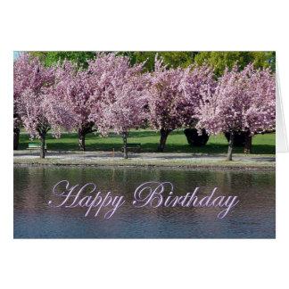 Cartão Flores de cerejeira do rosa do feliz aniversario