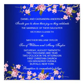 Cartão Flores de cerejeira japonesas dos azuis marinhos
