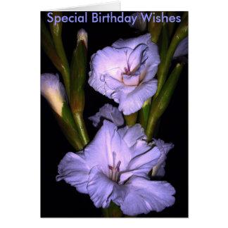 Cartão flores, desejos especiais do aniversário
