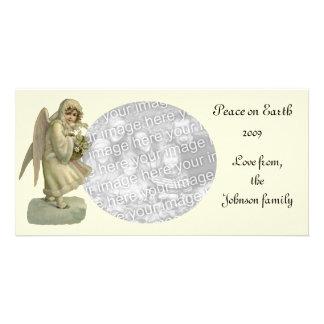 Cartão Flores do anjo do natal vintage, Victorian cortado
