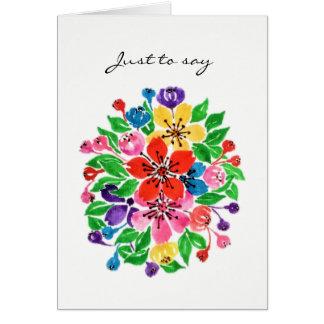 Cartão Flores do arco-íris da aguarela