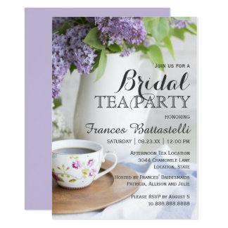 Cartão Flores do Lilac do lanche do chá de panela do