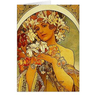 Cartão flores do mucha