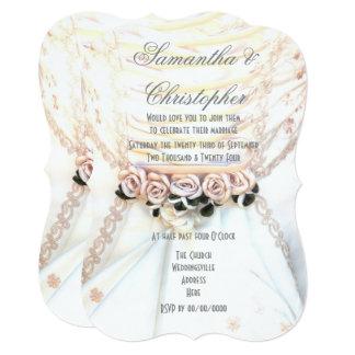 Cartão Flores do pêssego no casamento do vestido das