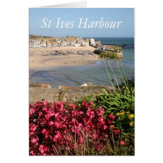 Cartão Flores do rosa do porto de St Ives
