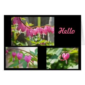 Cartão Flores dos corações de sangramento
