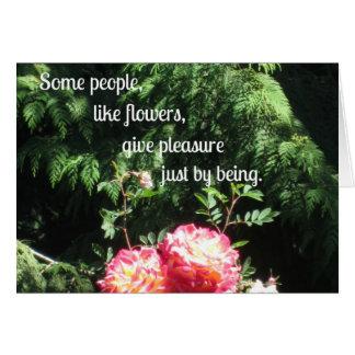 Cartão Flores e citações sobre a amizade