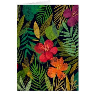 Cartão Flores e folhas tropicais
