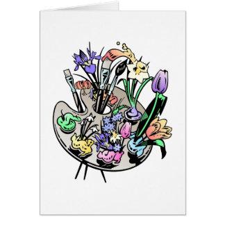 Cartão Flores e paleta do artista