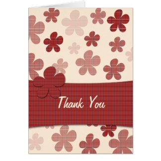 Cartão Flores e teste padrão vermelhos de matéria têxtil