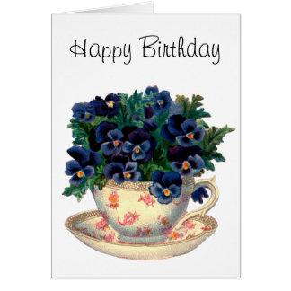 Cartão Flores em uma arte do vintage do Teacup