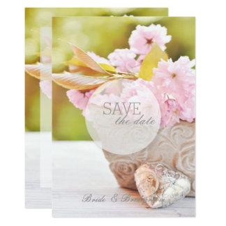 Cartão Flores Flor-Cor-de-rosa da cereja que Wedding