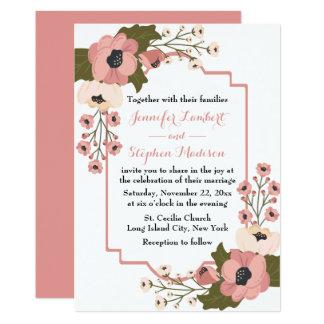 Cartão Flores florais cor-de-rosa da aguarela do